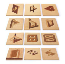 Set of 12 Marquetry Panels